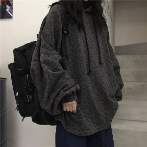 Dark Leopard Print Plus Size Hoodie - My Sweet Outfit - EGirl Outfits - Soft Girl Clothes Aesthetic - Grunge Korean Fashion Hip Emo Rap (2)