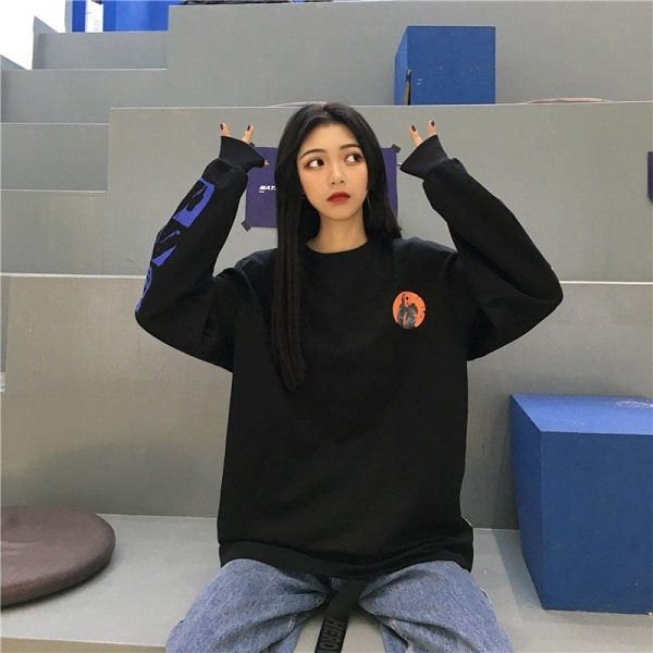 Dark Modern Pullover With And Designed Sleeves - My Sweet Outfit - EGirl Outfits - Soft Girl Clothes Aesthetic - Grunge Korean Fashion Hip Emo Rap 2
