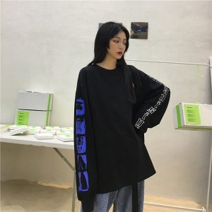 Dark Modern Pullover With And Designed Sleeves - My Sweet Outfit - EGirl Outfits - Soft Girl Clothes Aesthetic - Grunge Korean Fashion Hip Emo Rap (4)