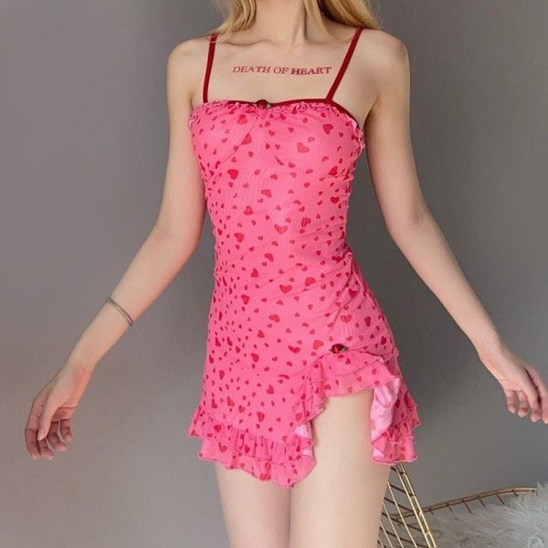 Delicate Short Dress With A Pattern Of Hearts - My Sweet Outfit - eGirl Outfits - Soft Girl Clothes Aesthetic - Grunge Korean Artsy - Cosplay - Anime - Fashion itGirl - Rap Accessories 2
