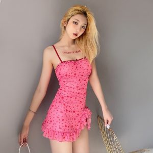 Delicate Short Dress With A Pattern Of Hearts - My Sweet Outfit - eGirl Outfits - Soft Girl Clothes Aesthetic - Grunge Korean Artsy - Cosplay - Anime - Fashion itGirl - Rap Accessories (3)