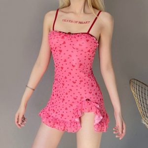 Delicate Short Dress With A Pattern Of Hearts - My Sweet Outfit - eGirl Outfits - Soft Girl Clothes Aesthetic - Grunge Korean Artsy - Cosplay - Anime - Fashion itGirl - Rap Accessories (4)