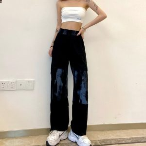 Elastic Waist Pants With Tie-Dye On The Knees - My Sweet Outfit - eGirl Outfits - Soft Girl Clothes Aesthetic - Grunge Korean Artsy - Cosplay - Anime - Fashion itGirl - Rap Accessories 2