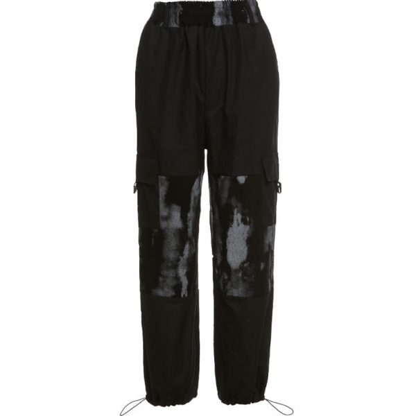 Elastic Waist Pants With Tie-Dye On The Knees - My Sweet Outfit - eGirl Outfits - Soft Girl Clothes Aesthetic - Grunge Korean Artsy - Cosplay - Anime - Fashion itGirl - Rap Accessories (4)
