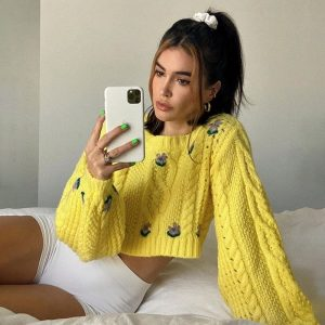 Flower Patterns Delicate Yellow Warm Knitted Top - My Sweet Outfit - eGirl Outfits - Soft Girl Clothes Aesthetic - Grunge Korean Artsy - Cosplay -Anime - Fashion Hip Emo Rap Accessories (1)