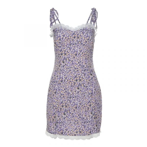 Flower Print Purple Dress With Slits And Fishnet Edges - My Sweet Outfit - eGirl Outfits - Soft Girl Clothes Aesthetic - Grunge Korean Artsy - Cosplay - Anime - Fashion itGirl - Rap Accessories (2)