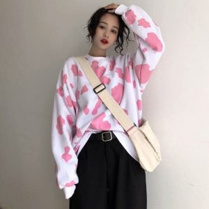Girlish Cow Pattern Oversized Pulover - My Sweet Outfit - EGirl Outfits - Soft Girl Clothes Aesthetic - Grunge Korean Fashion Hip Emo Rap (5)