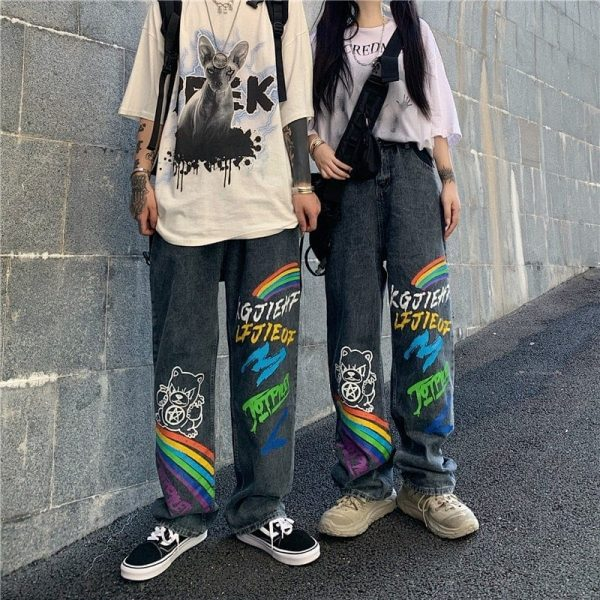 Graffiti Rainbow Print Wide Leg Jeans - My Sweet Outfit - eGirl Outfits - Soft Girl Clothes Aesthetic - Grunge Korean Artsy - Cosplay - Anime - Fashion itGirl - Rap Accessories 1