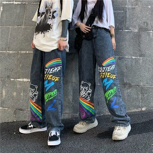 Graffiti Rainbow Print Wide Leg Jeans - My Sweet Outfit - eGirl Outfits - Soft Girl Clothes Aesthetic - Grunge Korean Artsy - Cosplay - Anime - Fashion itGirl - Rap Accessories 3