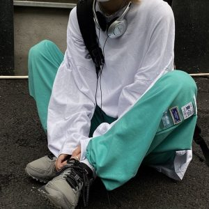 Green Nice Pants With Chinese Patches - My Sweet Outfit - EGirl Outfits - Soft Girl Clothes Aesthetic - Grunge Korean Fashion Hip Emo Rap 4
