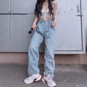 High Waist Baggy Wrinkled Jeans - My Sweet Outfit - eGirl Outfits - Soft Girl Clothes Aesthetic - Grunge Korean Artsy - Cosplay -Anime - Fashion Hip Emo Rap Accessories (1)