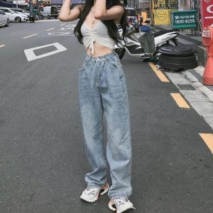 High Waist Baggy Wrinkled Jeans - My Sweet Outfit - eGirl Outfits - Soft Girl Clothes Aesthetic - Grunge Korean Artsy - Cosplay -Anime - Fashion Hip Emo Rap Accessories (4)