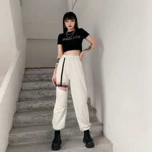 High Waist Leg Loop Y2k Pants - My Sweet Outfit - eGirl Outfits - Soft Girl Clothes Aesthetic - Grunge Korean Artsy - Cosplay - Anime - Fashion itGirl - Rap Accessories (1)