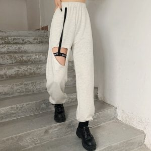 High Waist Leg Loop Y2k Pants - My Sweet Outfit - eGirl Outfits - Soft Girl Clothes Aesthetic - Grunge Korean Artsy - Cosplay - Anime - Fashion itGirl - Rap Accessories (2)