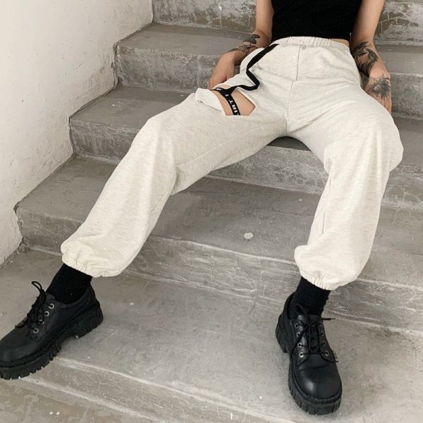 High Waist Leg Loop Y2k Pants - My Sweet Outfit - eGirl Outfits - Soft Girl Clothes Aesthetic - Grunge Korean Artsy - Cosplay - Anime - Fashion itGirl - Rap Accessories 3