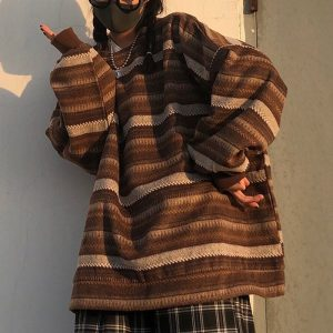 Horizontal Lines And Pocket Large Sweater - My Sweet Outfit - EGirl Outfits - Soft Girl Clothes Aesthetic - Grunge Korean Fashion Hip Emo Rap (1)