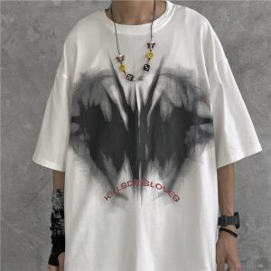 Kill Die Love Print Round Neck Loose T-Shirt - My Sweet Outfit - EGirl Outfits - Soft Girl Clothes Aesthetic - Grunge Korean Fashion Hip Emo Rap (1)