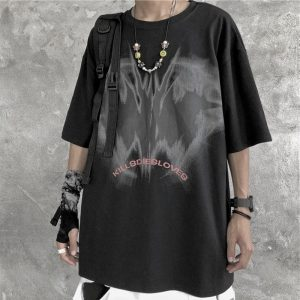 Kill Die Love Print Round Neck Loose T-Shirt - My Sweet Outfit - EGirl Outfits - Soft Girl Clothes Aesthetic - Grunge Korean Fashion Hip Emo Rap (2)
