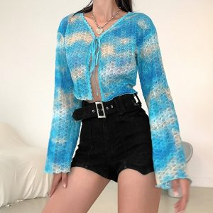 Knitted Slim Loose Clouds Blouse - My Sweet Outfit - eGirl Outfits - Soft Girl Clothes Aesthetic - Grunge Korean Artsy - Cosplay - Anime - Fashion itGirl - Rap Accessories (1)