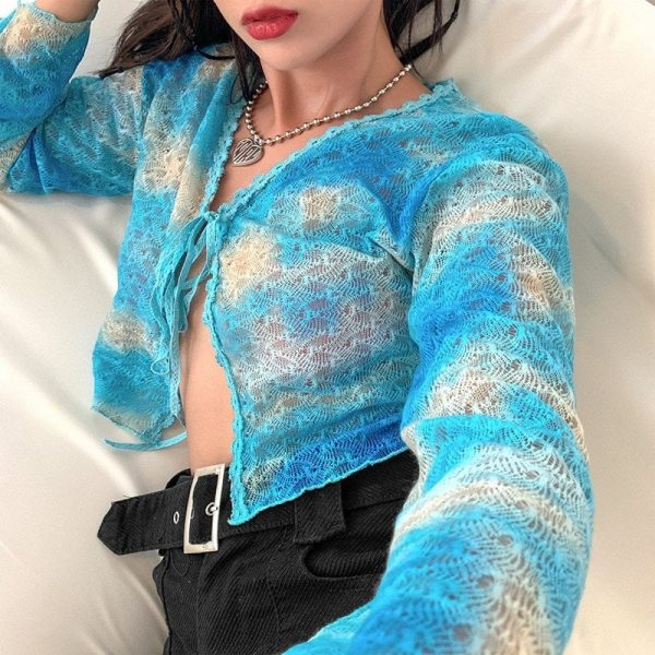 Knitted Slim Loose Clouds Blouse - My Sweet Outfit - eGirl Outfits - Soft Girl Clothes Aesthetic - Grunge Korean Artsy - Cosplay - Anime - Fashion itGirl - Rap Accessories 2