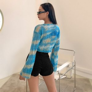 Knitted Slim Loose Clouds Blouse - My Sweet Outfit - eGirl Outfits - Soft Girl Clothes Aesthetic - Grunge Korean Artsy - Cosplay - Anime - Fashion itGirl - Rap Accessories (3)