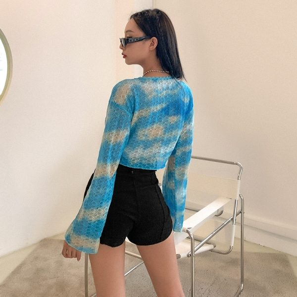 Knitted Slim Loose Clouds Blouse - My Sweet Outfit - eGirl Outfits - Soft Girl Clothes Aesthetic - Grunge Korean Artsy - Cosplay - Anime - Fashion itGirl - Rap Accessories 3