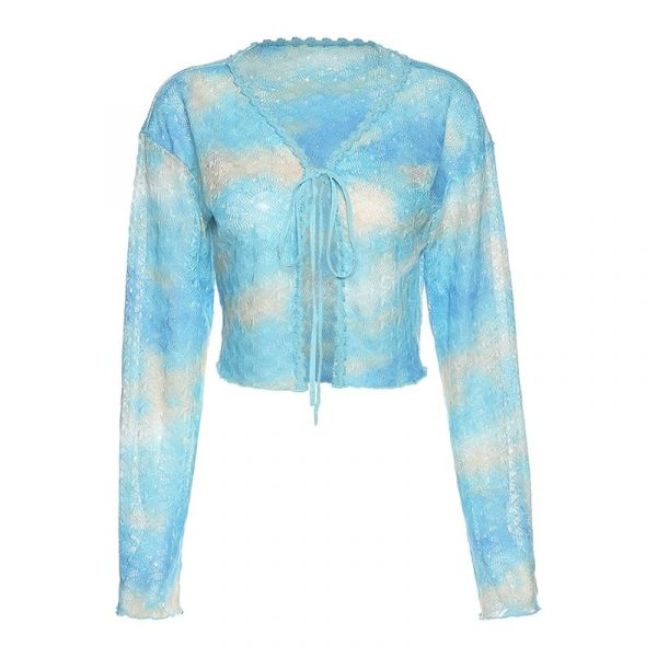 Knitted Slim Loose Clouds Blouse - My Sweet Outfit - eGirl Outfits - Soft Girl Clothes Aesthetic - Grunge Korean Artsy - Cosplay - Anime - Fashion itGirl - Rap Accessories 4