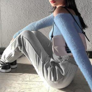Lace-up Street ItGirl Sweatpants - My Sweet Outfit - eGirl Outfits - Soft Girl Clothes Aesthetic - Grunge Korean Artsy - Cosplay - Anime - Fashion itGirl - Rap Accessories (2)