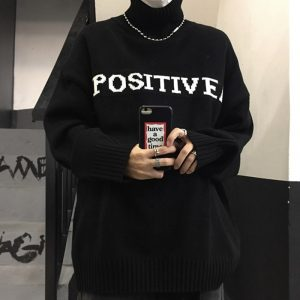 Large Knitted Turtleneck Positive Sweater - My Sweet Outfit - EGirl Outfits - Soft Girl Clothes Aesthetic - Grunge Korean Fashion Hip Emo Rap (2)