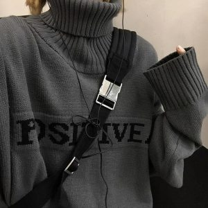 Large Knitted Turtleneck Positive Sweater - My Sweet Outfit - EGirl Outfits - Soft Girl Clothes Aesthetic - Grunge Korean Fashion Hip Emo Rap (3)