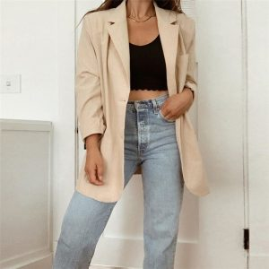 Long Oversized Eighties Style Blazer - My Sweet Outfit - eGirl Outfits - Soft Girl Clothes Aesthetic - Grunge Korean Artsy - Cosplay -Anime - Fashion Hip Emo Rap Accessories (2)