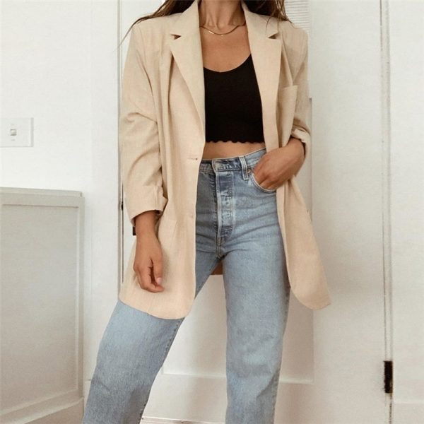 Long Oversized Eighties Style Blazer - My Sweet Outfit - eGirl Outfits - Soft Girl Clothes Aesthetic - Grunge Korean Artsy - Cosplay -Anime - Fashion Hip Emo Rap Accessories 2
