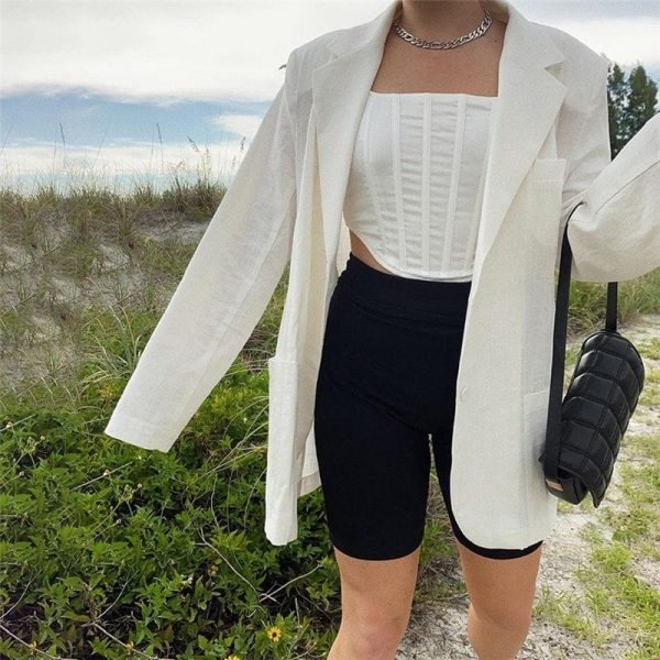 Long Oversized Eighties Style Blazer - My Sweet Outfit - eGirl Outfits - Soft Girl Clothes Aesthetic - Grunge Korean Artsy - Cosplay -Anime - Fashion Hip Emo Rap Accessories 3