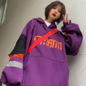 Long Sleeved Fleece Hooded Sweater With Pockets - My Sweet Outfit - EGirl Outfits - Soft Girl Clothes Aesthetic - Grunge Korean Fashion Hip Emo Rap (2)