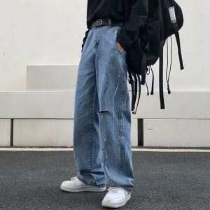 Old Torn Jeans With Splashes Of Paint - My Sweet Outfit - EGirl Outfits - Soft Girl Clothes Aesthetic - Grunge Korean Fashion Hip Emo Rap (2)