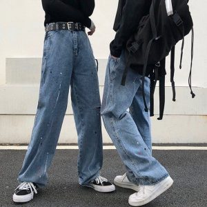 Old Torn Jeans With Splashes Of Paint - My Sweet Outfit - EGirl Outfits - Soft Girl Clothes Aesthetic - Grunge Korean Fashion Hip Emo Rap (3)