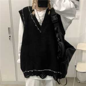 Oversized Sloppy Cardigan With Jagged Edges - My Sweet Outfit - EGirl Outfits - Soft Girl Clothes Aesthetic - Grunge Korean Fashion Hip Emo Rap (4)