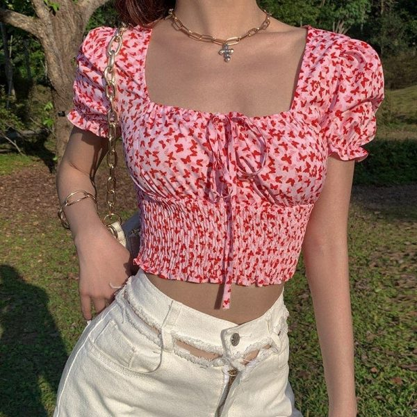 Pastoral Butterfly Print Soft Girl Top - My Sweet Outfit - eGirl Outfits - Soft Girl Clothes Aesthetic - Grunge Korean Artsy - Cosplay - Anime - Fashion itGirl - Rap Accessories (2)
