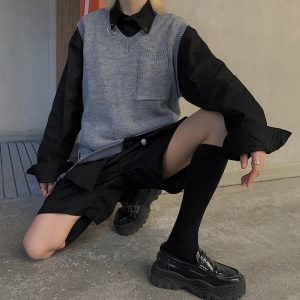 Plain Stretched Student Cardigan With Pocket - My Sweet Outfit - EGirl Outfits - Soft Girl Clothes Aesthetic - Grunge Korean Fashion Hip Emo Rap (4)