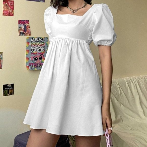 Puff Sleeve Sensual Spring Light Dress - My Sweet Outfit - eGirl Outfits - Soft Girl Clothes Aesthetic - Grunge Korean Artsy - Cosplay -Anime - Fashion Hip Emo Rap Accessories 1
