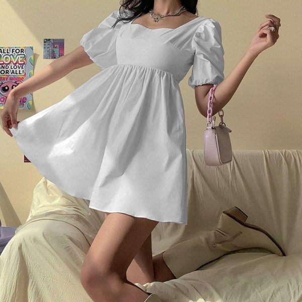 Puff Sleeve Sensual Spring Light Dress - My Sweet Outfit - eGirl Outfits - Soft Girl Clothes Aesthetic - Grunge Korean Artsy - Cosplay -Anime - Fashion Hip Emo Rap Accessories 2