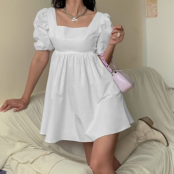 Puff Sleeve Sensual Spring Light Dress - My Sweet Outfit - eGirl Outfits - Soft Girl Clothes Aesthetic - Grunge Korean Artsy - Cosplay -Anime - Fashion Hip Emo Rap Accessories 3