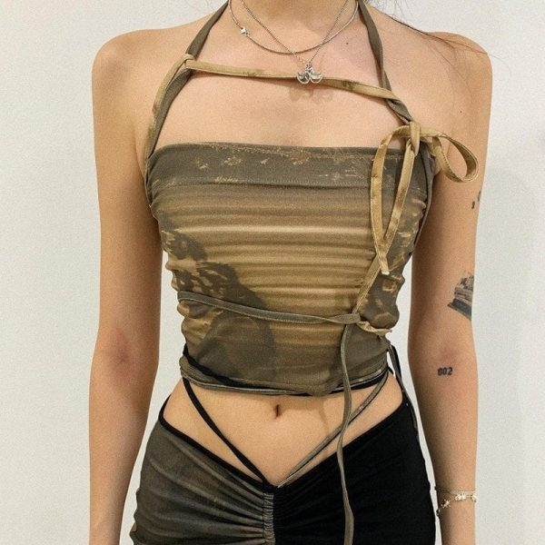 Slim Sleeveless Crop Army Green Top - My Sweet Outfit - eGirl Outfits - Soft Girl Clothes Aesthetic - Grunge Korean Artsy - Cosplay - Anime - Fashion itGirl - Rap Accessories (3)