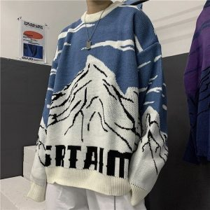 Snow Mountain Jacquard Loose Sweater - My Sweet Outfit - EGirl Outfits - Soft Girl Clothes Aesthetic - Grunge Korean Fashion Hip Emo Rap (1)