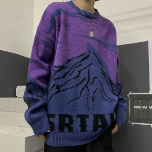Snow Mountain Jacquard Loose Sweater - My Sweet Outfit - EGirl Outfits - Soft Girl Clothes Aesthetic - Grunge Korean Fashion Hip Emo Rap (4)