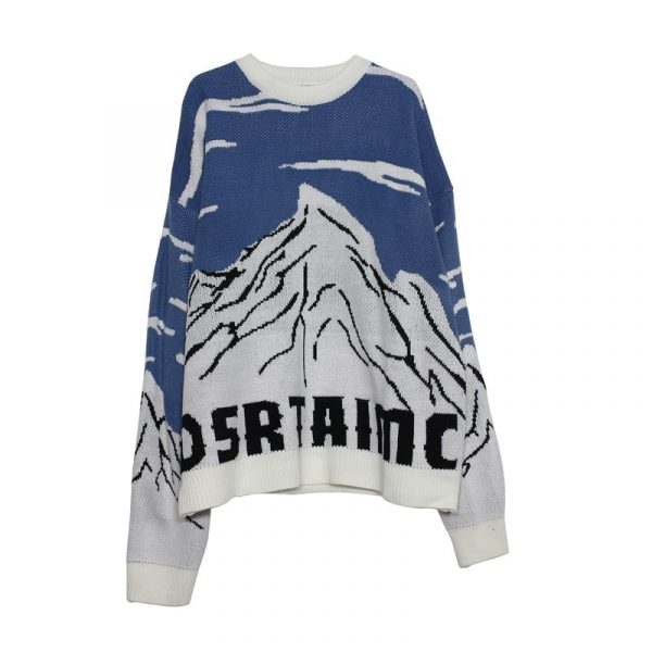 Snow Mountain Jacquard Loose Sweater - My Sweet Outfit - EGirl Outfits - Soft Girl Clothes Aesthetic - Grunge Korean Fashion Hip Emo Rap 5