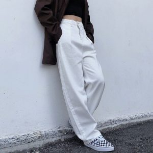 Straight Loose High Casual Trousers - My Sweet Outfit - EGirl Outfits - Soft Girl Clothes Aesthetic - Grunge Korean Fashion Hip Emo Rap (1)