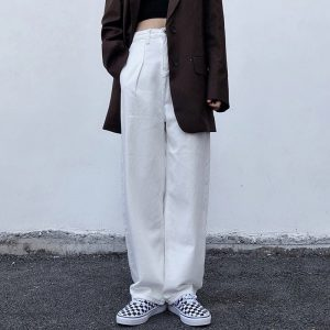 Straight Loose High Casual Trousers - My Sweet Outfit - EGirl Outfits - Soft Girl Clothes Aesthetic - Grunge Korean Fashion Hip Emo Rap (4)