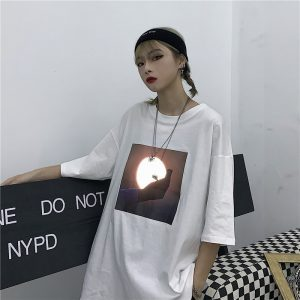 Sunrise Print Oversized Harajuku T-shirt - My Sweet Outfit - eGirl Outfits - Soft Girl Clothes Aesthetic - Grunge Korean Artsy - Cosplay - Anime - Fashion itGirl - Rap Accessories (1)