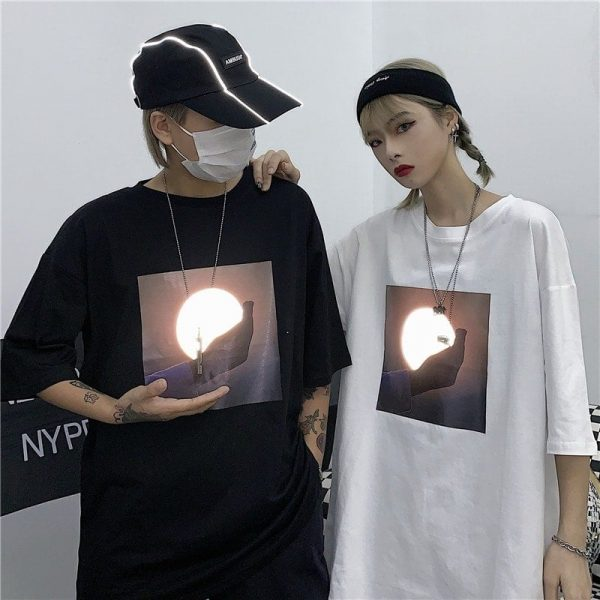 Sunrise Print Oversized Harajuku T-shirt - My Sweet Outfit - eGirl Outfits - Soft Girl Clothes Aesthetic - Grunge Korean Artsy - Cosplay - Anime - Fashion itGirl - Rap Accessories 3